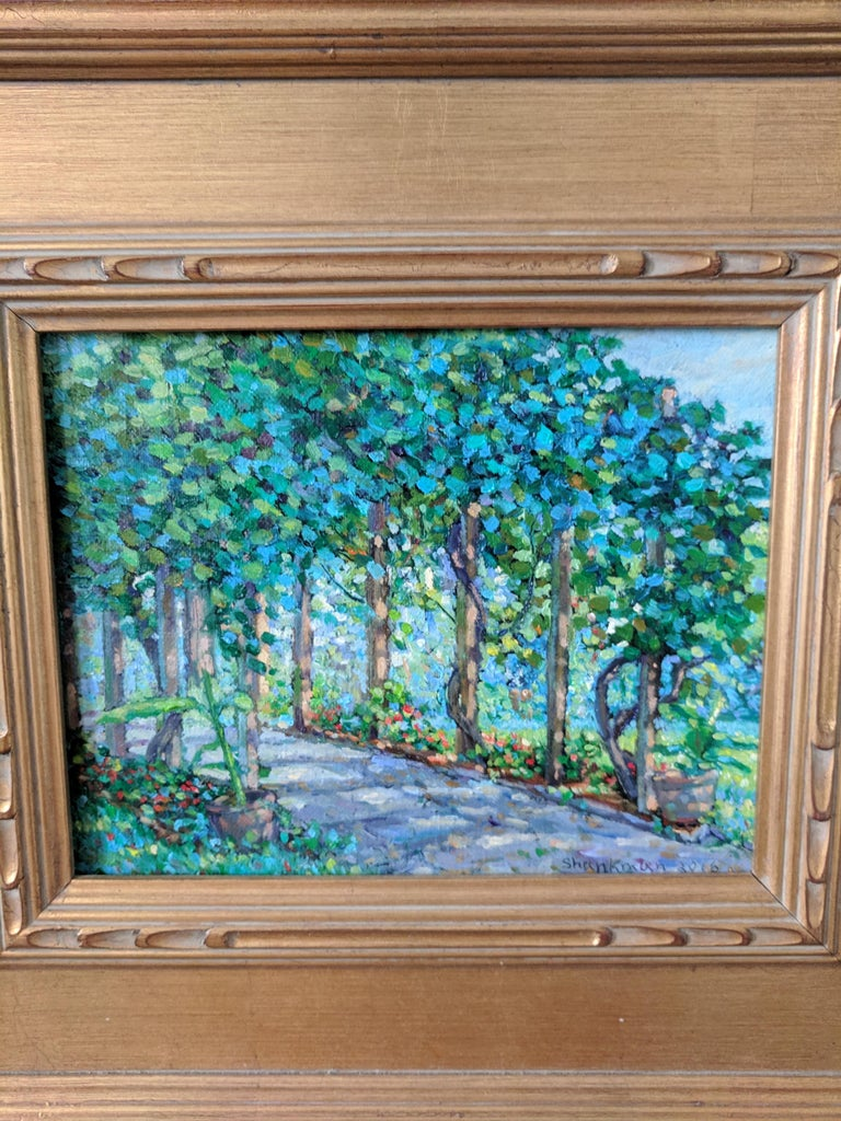 Impressionist Oil Painting on Linen  --  The Arbor For Sale 5