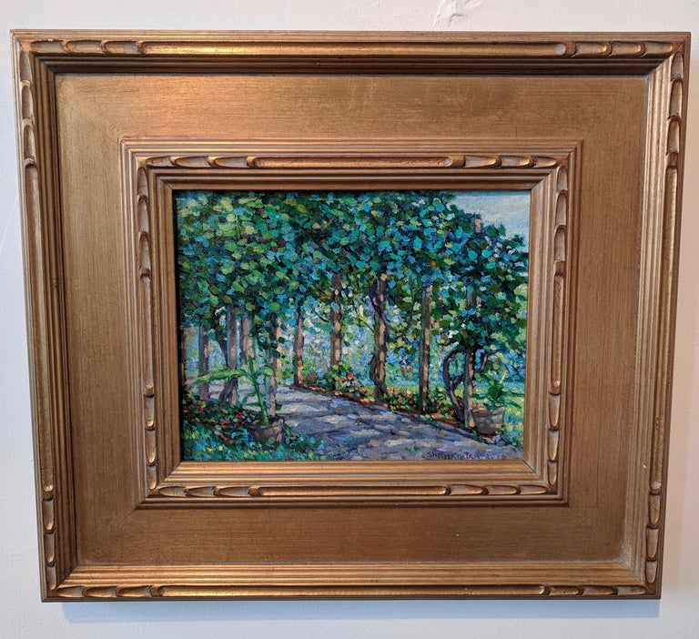 Impressionist Oil Painting on Linen  --  The Arbor For Sale 6