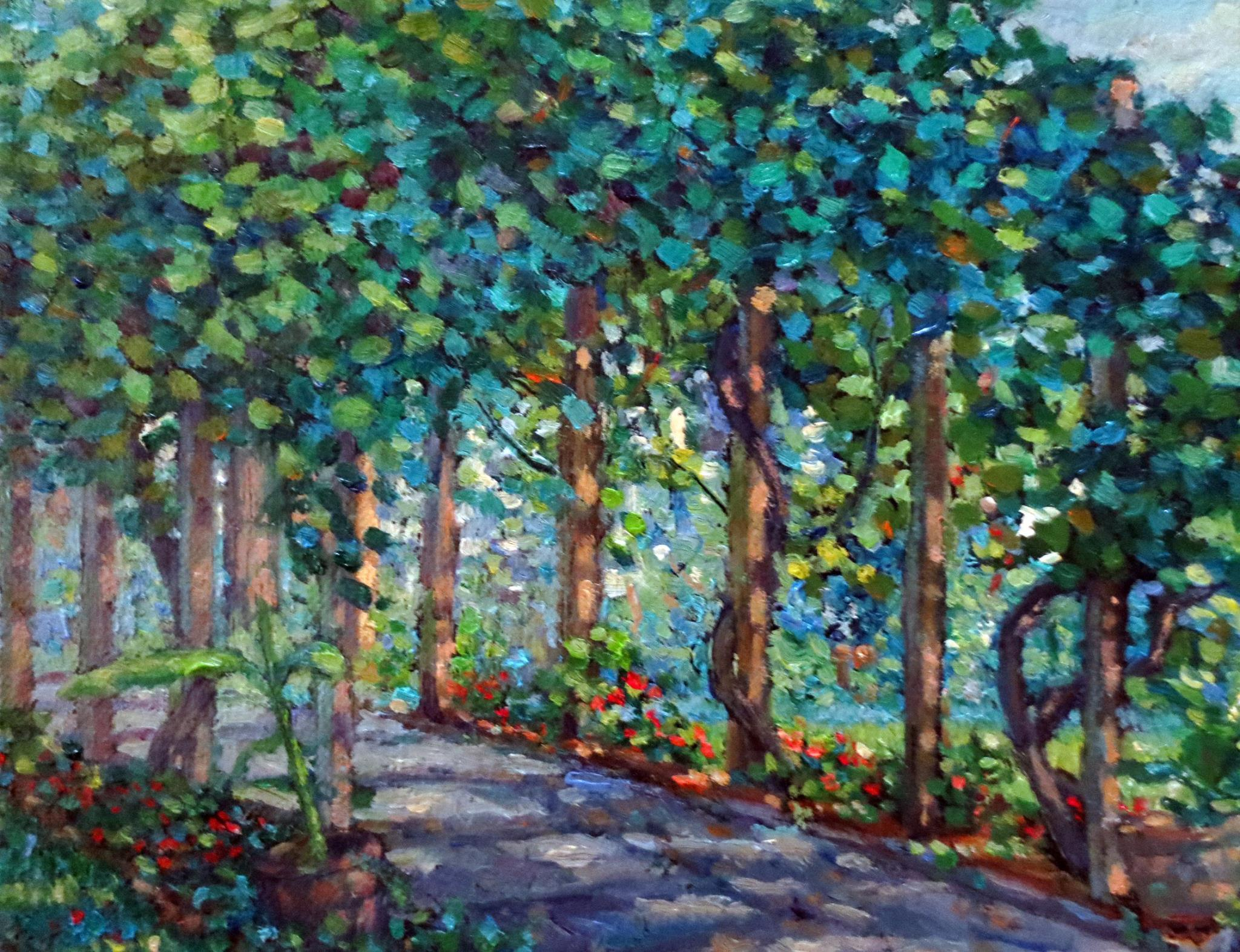 Impressionist Oil Painting on Linen  --  The Arbor