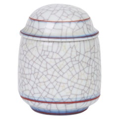 Gary Wornell Studio Pottery Crackle Glaze Porcelain Lidded Pot, circa 1980