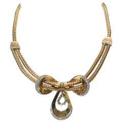 Gas-Pipe with Bow-Tie Gold Necklace