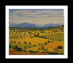 Campos de Mallorca original naif expressionist oil canvas painting