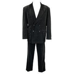 GASPAR SALDANHA Size 44 Regular Black Stripe Velvet Peak Lapel Suit