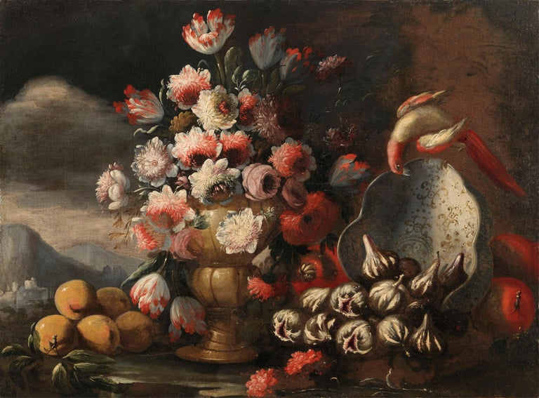 Two Exceptional Italian 18th Century Still-Life Paintings by Lopez & Houbraken - Black Figurative Painting by Gasparo Lopez
