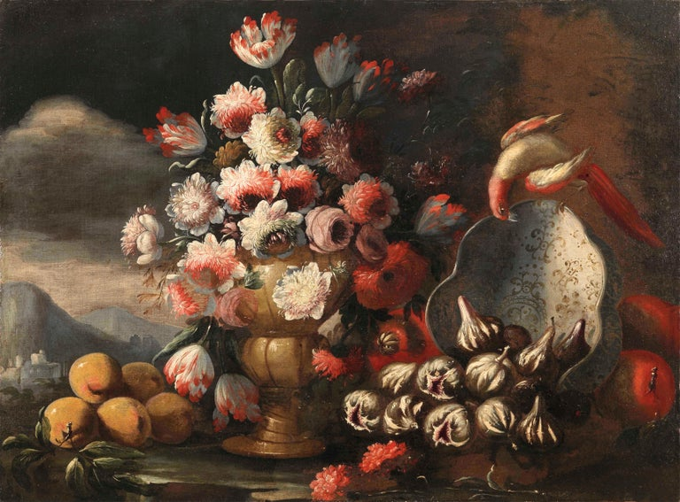 Two Exceptional Italian 18th Century Still-Life Paintings by Lopez & Houbraken For Sale 3