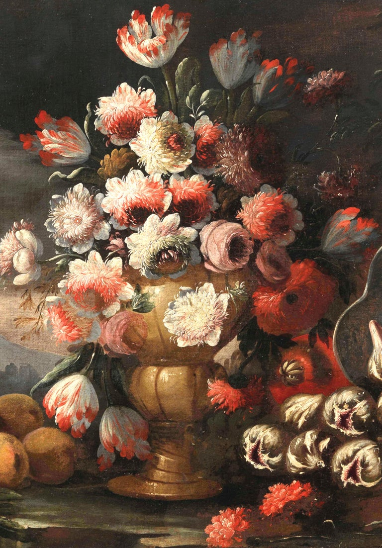 Two Exceptional Italian 18th Century Still-Life Paintings by Lopez & Houbraken For Sale 4