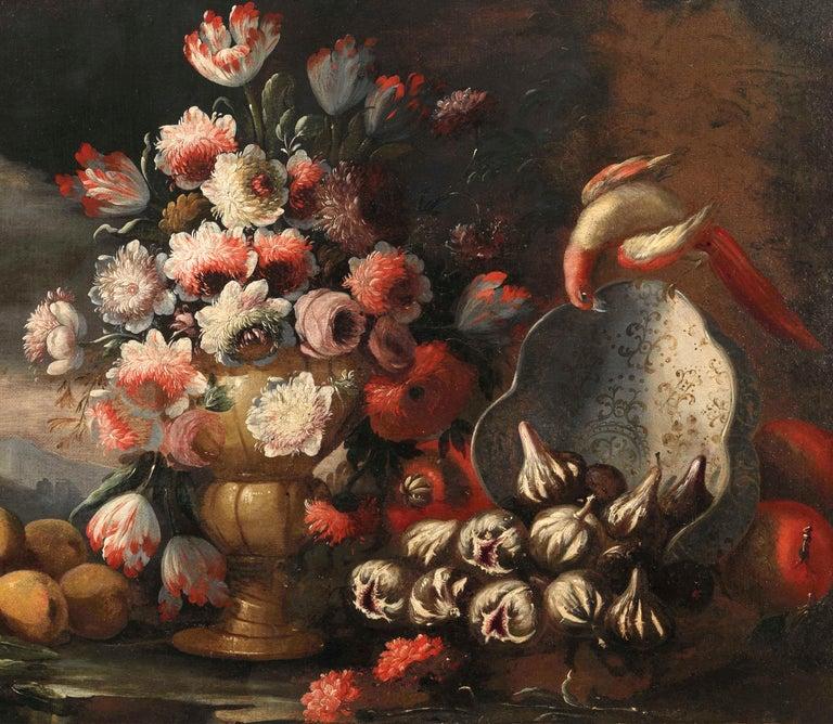Two Exceptional Italian 18th Century Still-Life Paintings by Lopez & Houbraken For Sale 5