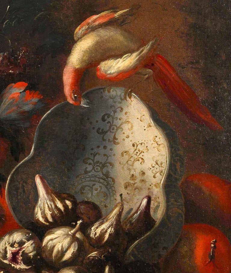 Two Exceptional Italian 18th Century Still-Life Paintings by Lopez & Houbraken For Sale 6