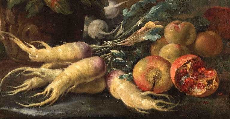 Two Exceptional Italian 18th Century Still-Life Paintings by Lopez & Houbraken For Sale 7