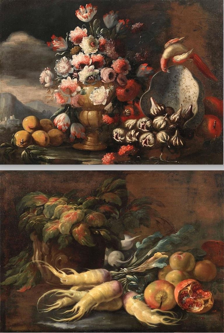 Nicola Van Houbraken ( Messina 1668 Livorno 1723 ) and Gasparo Lopez (Napoli 1677 - ? 1732 )  Still-life with Pomegranates, Beets and White turnip by Nicola Van Houbraken still life with flowers in a vase, parrot, plate by Gasparo Lopez This pair of