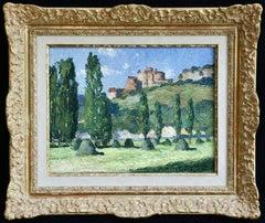 Le Chateau de Castelnaud- 20th Century Oil, French Castle Landscape by G Balande