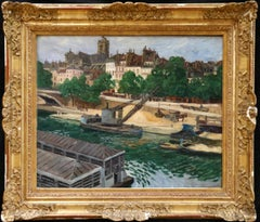 Workers on the Seine - Post Louis-Philippe - River Landscape Oil by G Balande