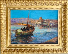 French antique impressionist painting Mediterranean - Sailing Boats Harbour