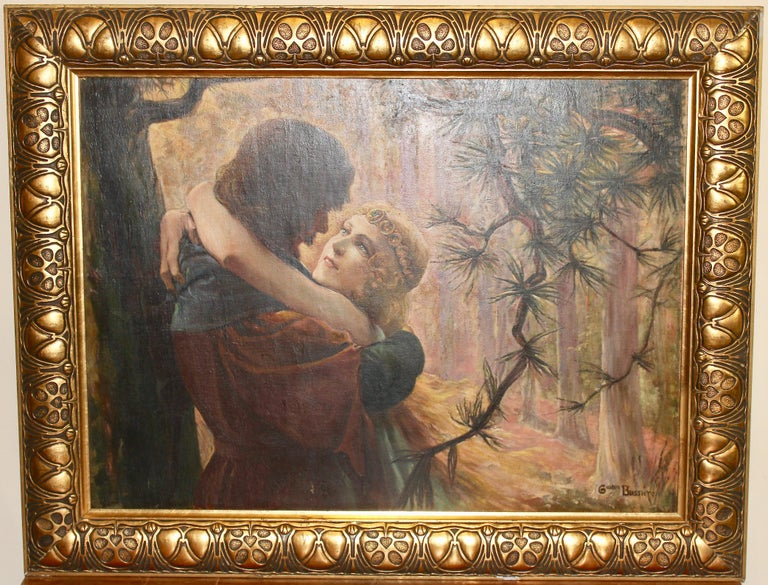 Art Déco Painting, ca. 1910, oil on cardboard. Romantic love scene in the forest For Sale 1
