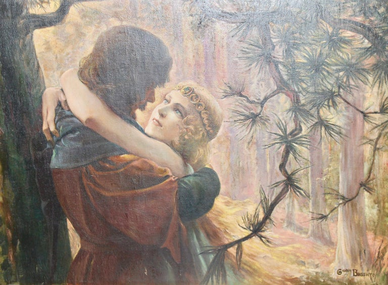 Painting, around 1910, oil on cardboard. Romantic love scene in the forest.  Signed, Gaston Bussiere.  With beautiful (original) Art Deco frame. Frame has minimal damage in places.  Dimensions with frame 67cm x 86cm  This painting is offered here