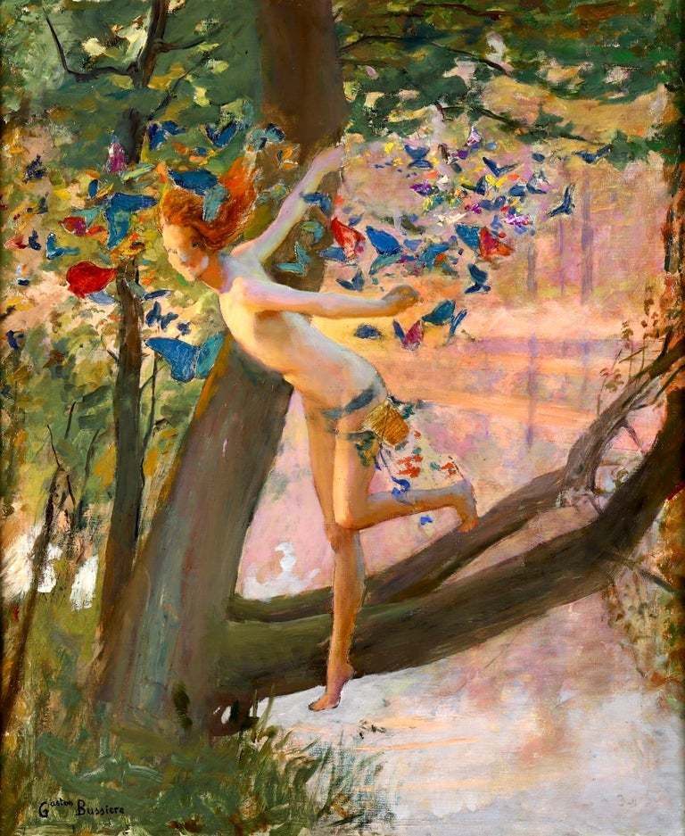 Nymph & Butterflies - Symbolist Oil, Nude by River Landscape - Gaston Bussiere - Beige Animal Painting by Gaston Bussiere
