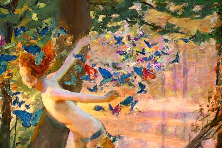 Nymph & Butterflies - Symbolist Oil, Nude by River Landscape - Gaston Bussiere For Sale 1