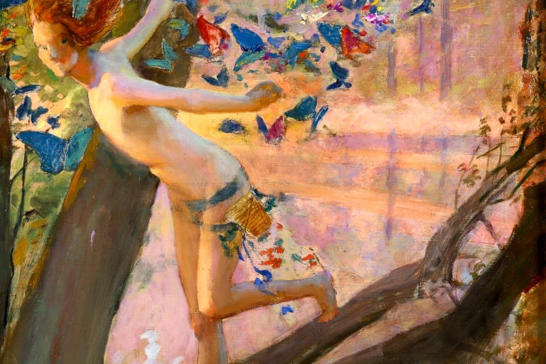 Nymph & Butterflies - Symbolist Oil, Nude by River Landscape - Gaston Bussiere For Sale 2