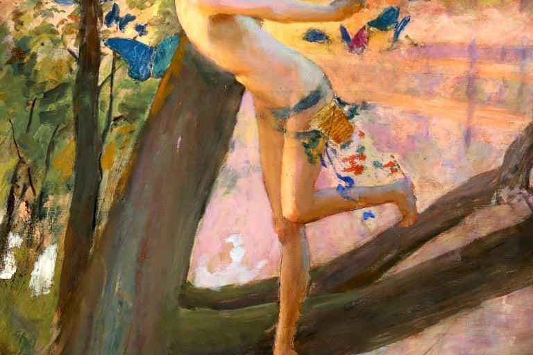 Nymph & Butterflies - Symbolist Oil, Nude by River Landscape - Gaston Bussiere For Sale 4