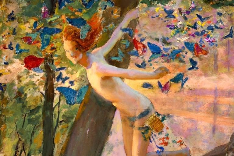 Nymph & Butterflies - Symbolist Oil, Nude by River Landscape - Gaston Bussiere For Sale 5