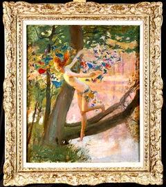Nymph & Butterflies - Symbolist Oil, Nude by River Landscape - Gaston Bussiere