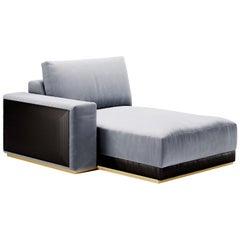 Gaston Chaise Lounge, Contemporary Sofa by Fabio Arcaini Settee Velvet Leather