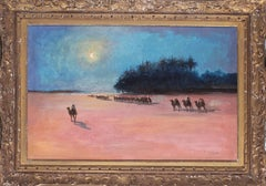 A 19th Century French oil painting of camels in a desert under moonlight
