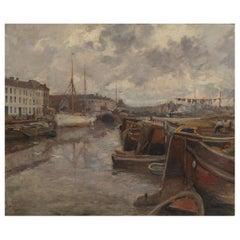 Gaston Haustraete 'Brussels, 1878 - Elsene, 1949', Harbor View, Signed