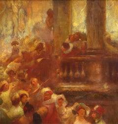 Commedia dell'arte - 19th Century Oil, Figures in Interior by Gaston La Touche