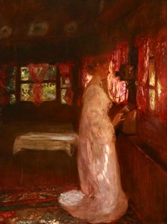 La Telephone - 19th Century Oil, Elegant Woman in Interior by Gaston La Touche