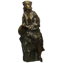 Gaston Leroux Bronze Figure of Aida on a Sphinx, French, 19th Century