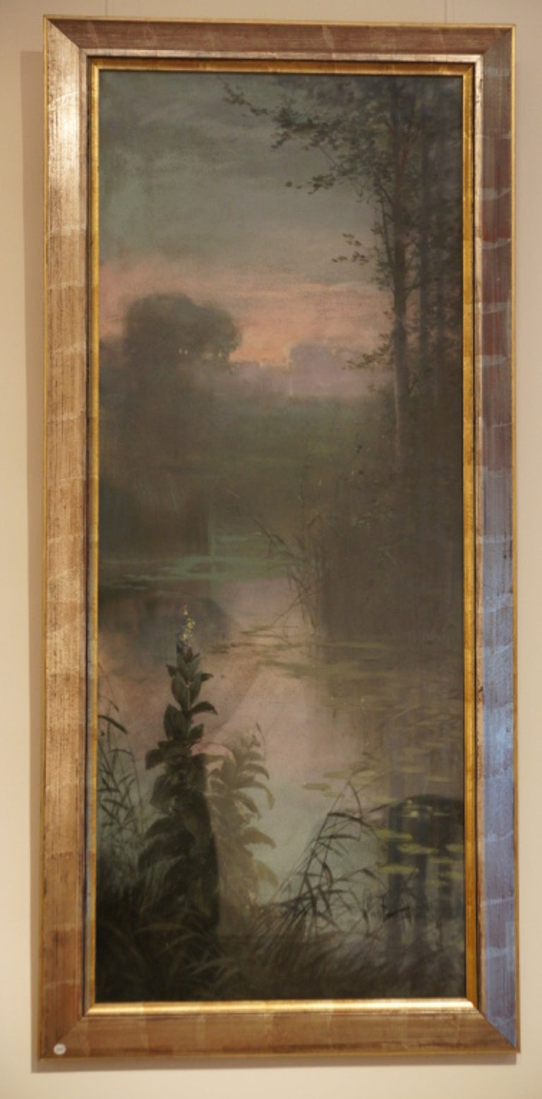 Art Nouveau goauche painting of a landscape by Gaston Noury, born in Elbeuf in France in 1866.
