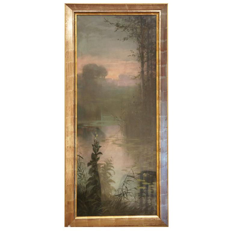 French Gaston Noury Art Nouveau Gouache Painting Landscape at Sunset  France  1900 For Sale