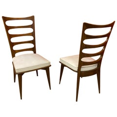 Gaston Poisson, 2 Elegant Chairs circa 1950-1960