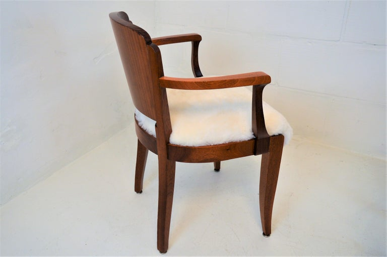 Gaston Poisson Art Deco Armchairs Covered with Sheepskin in Solid Mahogany For Sale 7