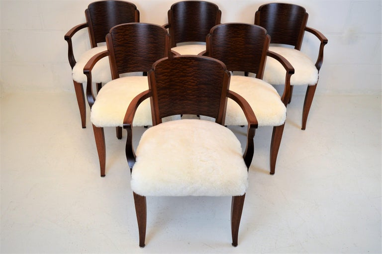 French Gaston Poisson Art Deco Armchairs Covered with Sheepskin in Solid Mahogany For Sale