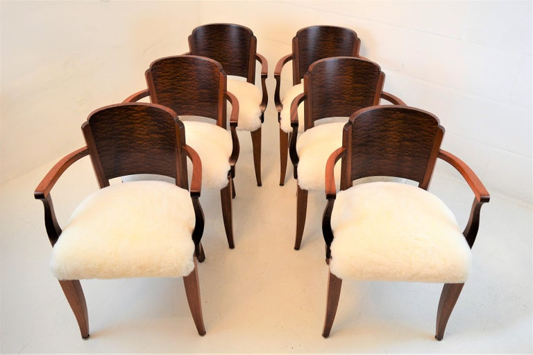 Mid-20th Century Gaston Poisson Art Deco Armchairs Covered with Sheepskin in Solid Mahogany For Sale