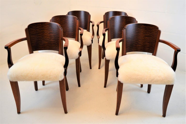 Gaston Poisson Art Deco Armchairs Covered with Sheepskin in Solid Mahogany For Sale 3