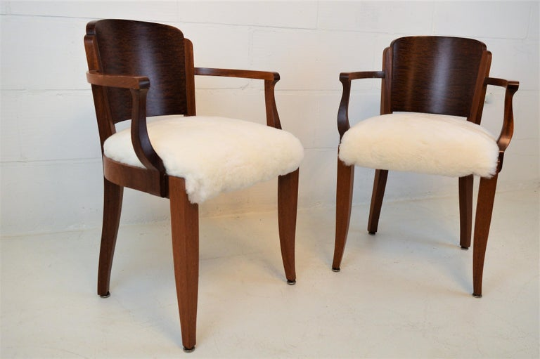 Gaston Poisson Art Deco Armchairs Covered with Sheepskin in Solid Mahogany For Sale 4