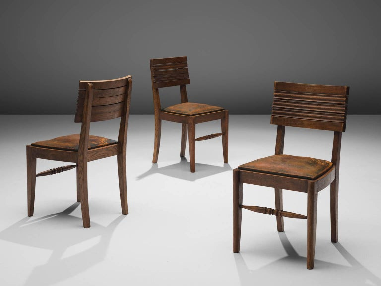 Gaston Poisson Set of Six Leather and Oak Dining Chairs In Good Condition For Sale In Waalwijk, NL