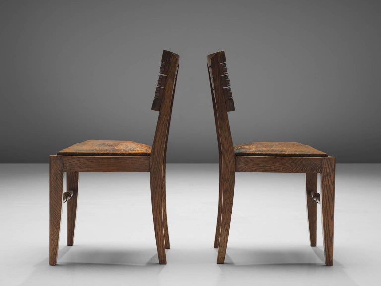 Mid-20th Century Gaston Poisson Set of Six Leather and Oak Dining Chairs For Sale
