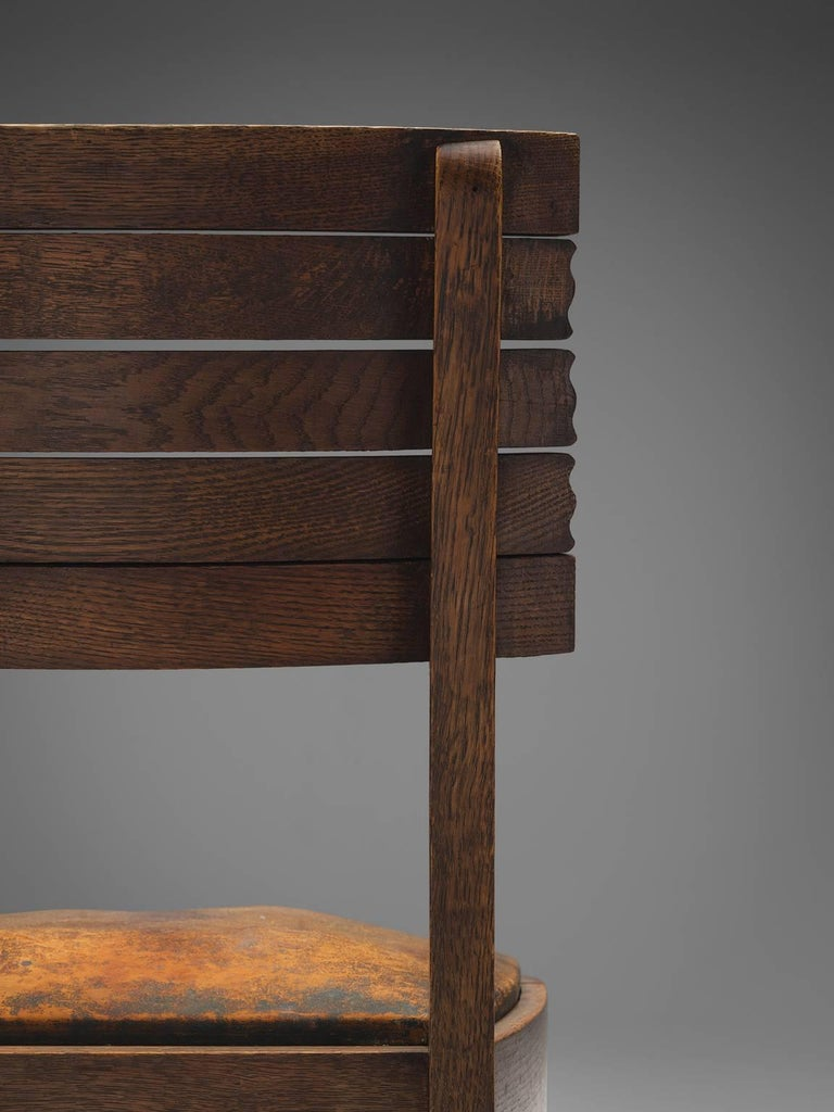 Gaston Poisson Set of Six Leather and Oak Dining Chairs For Sale 3