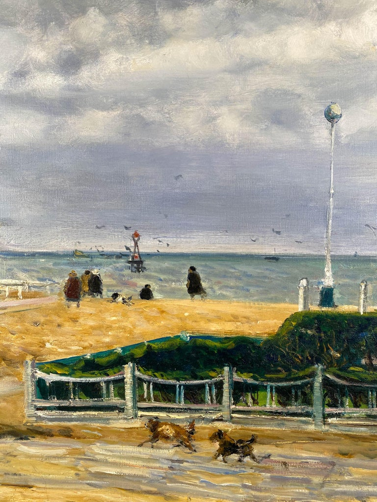 At The Seaside - Post-Impressionist Painting by Gaston Sebire
