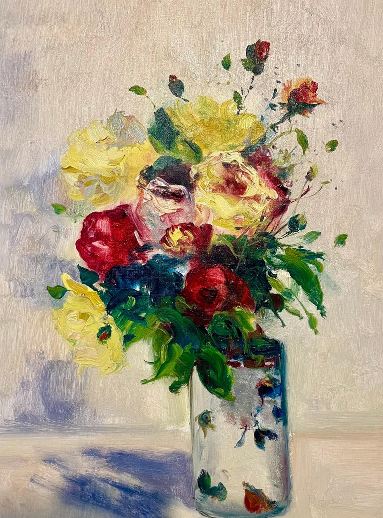 French Post Impressionist Oil Painting Floral Roses, Vase Gaston Sebire Flowers For Sale 2
