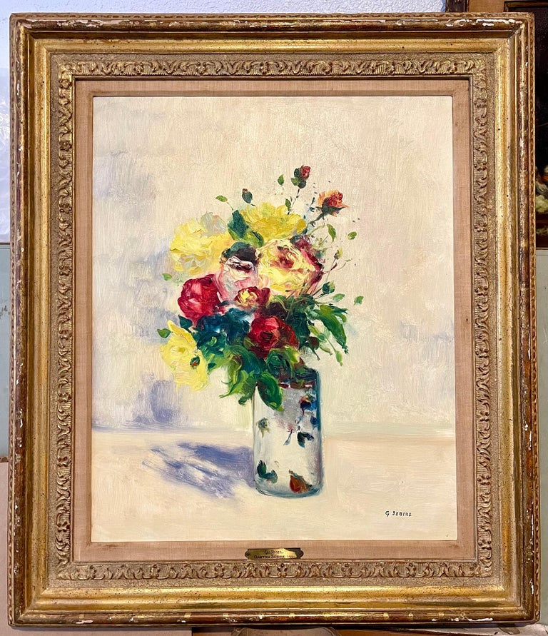 French Post Impressionist Oil Painting Floral Roses, Vase Gaston Sebire Flowers For Sale 5