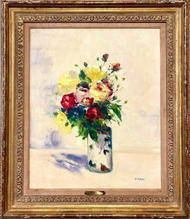 French Post Impressionist Oil Painting Floral Roses, Vase Gaston Sebire Flowers - Beige Still-Life Painting by Gaston Sebire