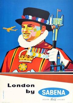 Original Vintage Travel Poster Tower Of London Sabena Airlines Midcentury Design