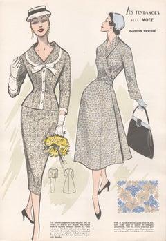 French 1956 Womens Fashion Design Halftone print with original fabric swatch