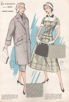 French 1956 Womens Fashion Design Halftone print with original fabric swatches