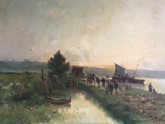 "French Landscape Oil Painting by Gaston Anglade ""Bringing the Catch"""